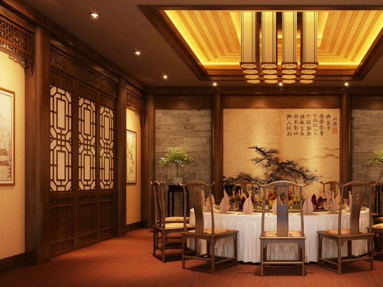 VIP大包厢3d模型资料下载-中式餐厅包厢3D模型下载