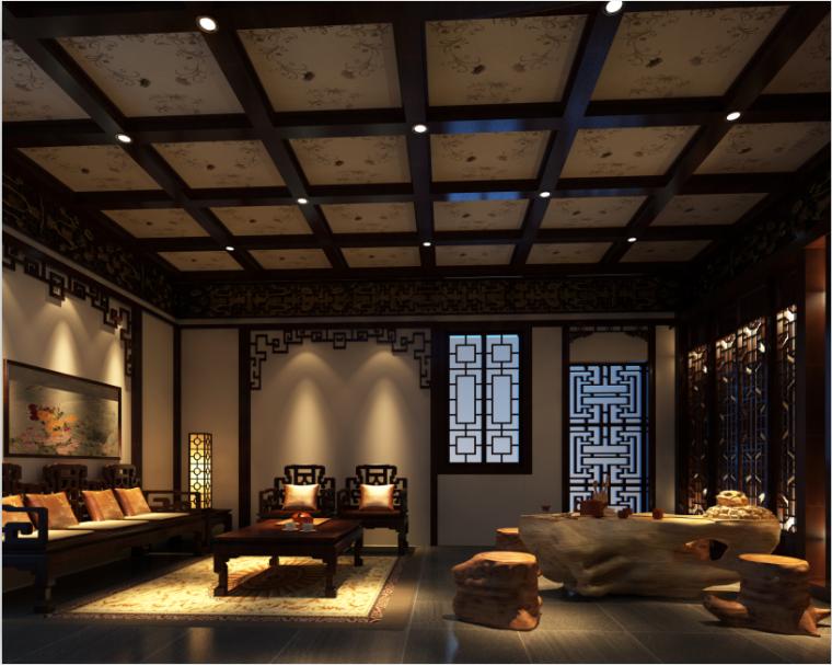 三层中式别墅设计方案效果图(含3D模型,材质,光域网)