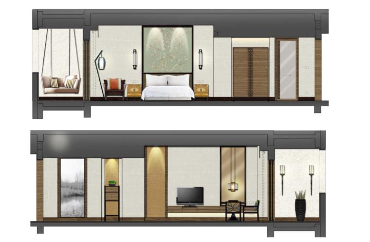 [上海]中式别墅样板间室内设计施工图(高清效果图+方案)