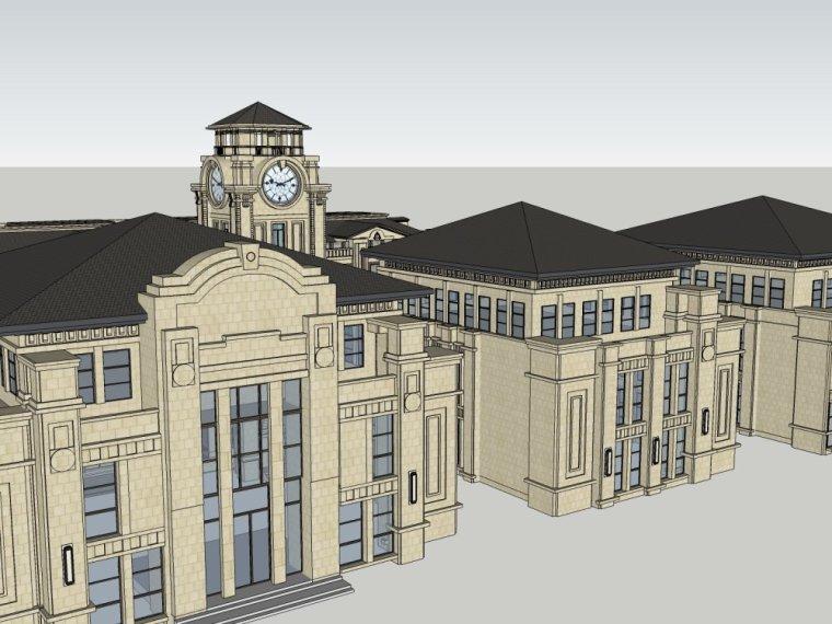 欧式风格建筑会所3层建筑设计(su模型)
