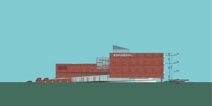 [四川]现代风格石材外墙科技展览馆重建建筑设计方案文本-现代风格石材外墙科技展览馆重建建筑立面图