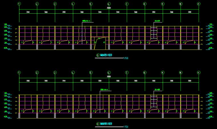 新疆乌鲁木齐70x20门式刚架轻型钢结构施工图