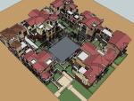西班牙风格居住区建筑SU模型