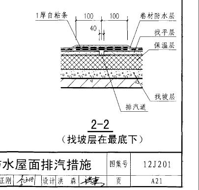 屋面排汽措施中排气道的设置12J201图集是不是错误的.?