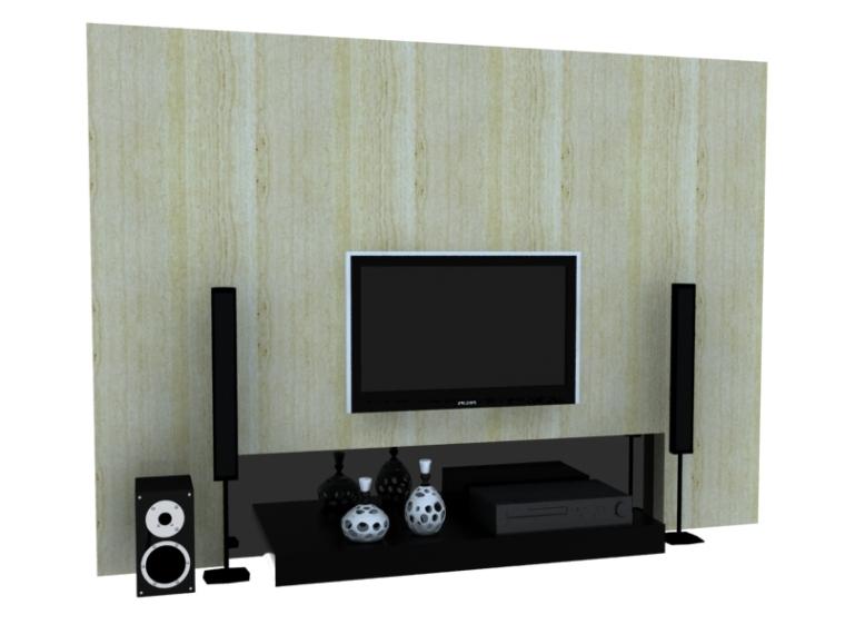 简约组合电视墙3D模型下载