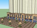 法式商业建筑及广场SU模型