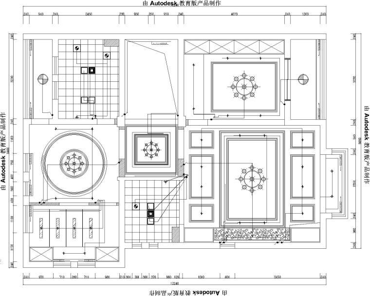 35款天花顶棚图CAD图库大全(带剖面图线路图)