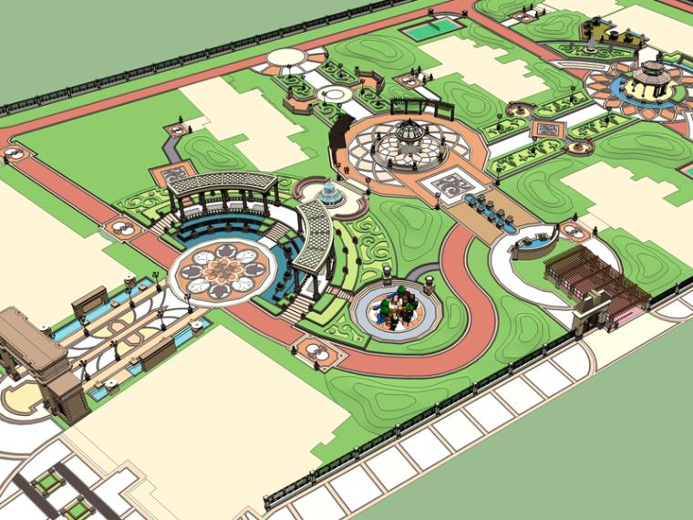 新古典主义居住区景观模型 1