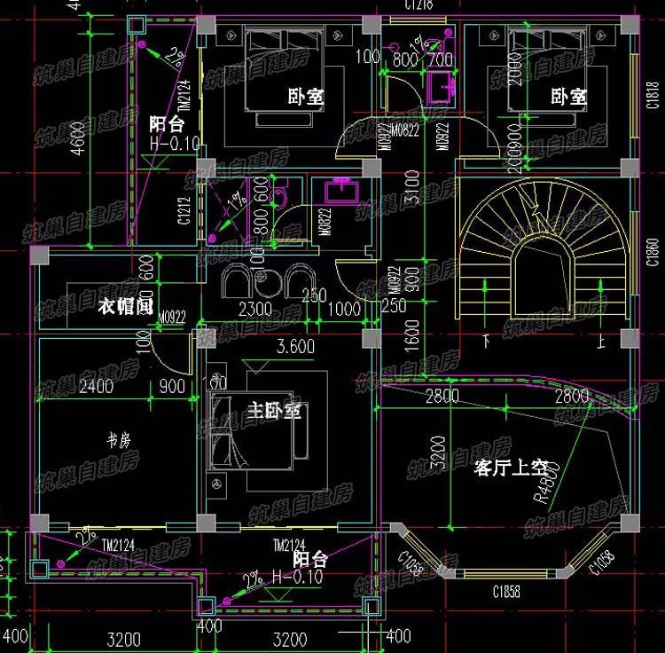 13x11三层农村独栋别墅设计图-1.2