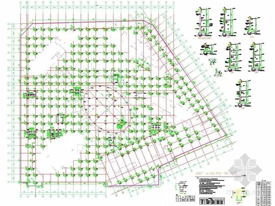 地下室基础~-10.500墙柱平面定位图