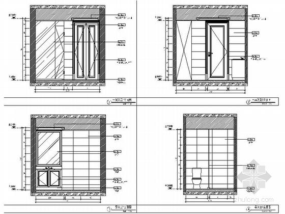 精品现代三层别墅样板间室内装修施工图次卫立面图