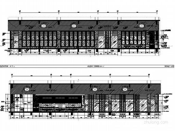 [海南]五星级酒店全日餐厅室内装修施工图-[海南]五星级酒店室内装修施工图全日餐厅立面图