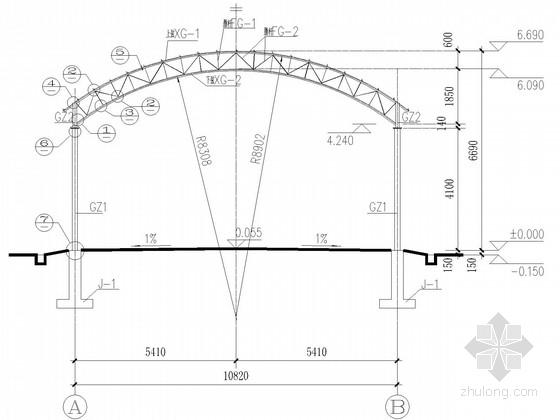 拱形钢桁架农贸市场结构施工图