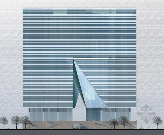 [深圳]裂口磐石造型高层科技大厦建筑设计方案文本-裂口磐石造型高层科技大厦建筑立面图