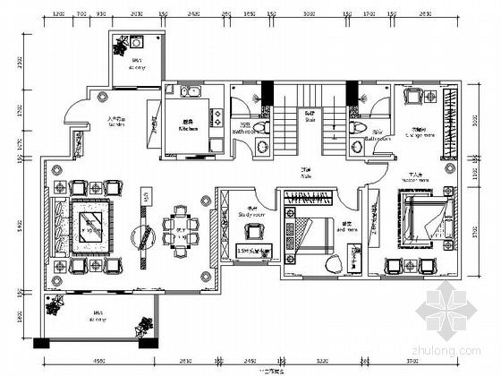 [广东]简约别致简欧风格别墅室内装修施工图
