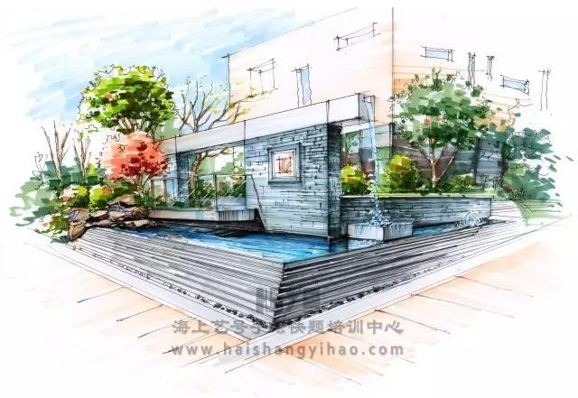 景墙的画法步骤图解析:庭院中间有道墙_12