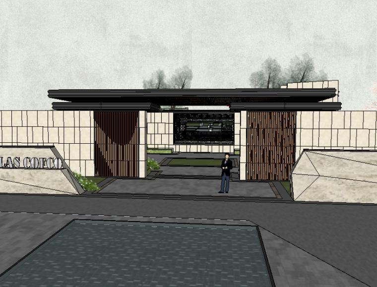 和園入口大門模型設計(新中式風格)
