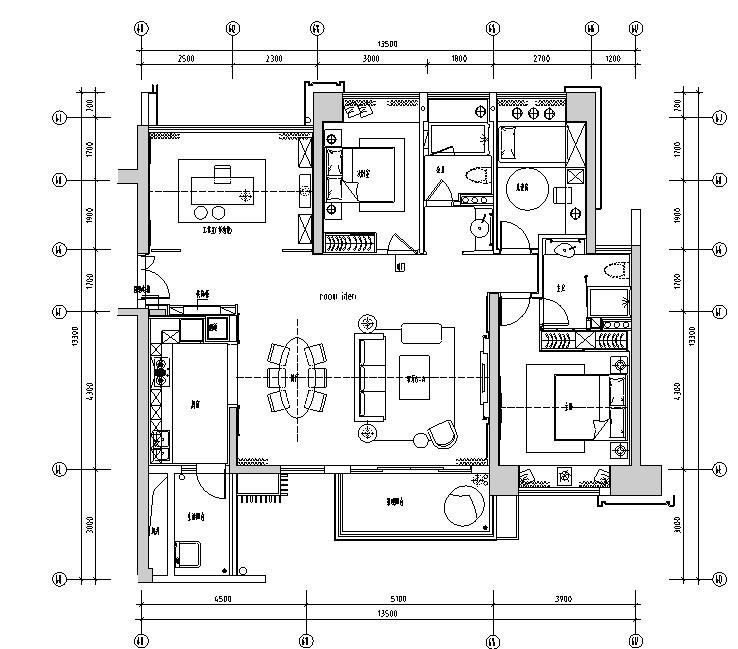 壹方中心6A户型住宅设计施工图(附效果图+物料图+软装清单+机电)