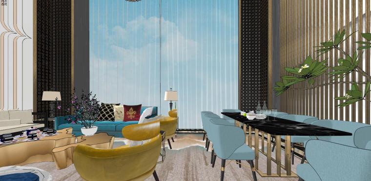豪华loft室内设计客餐厅模型设计(2018年)-X 21