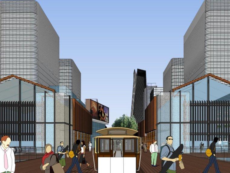 现代商业街两层资料下载-现代主义风格,2层\火车站站前综合体+现代中式商业街.skp