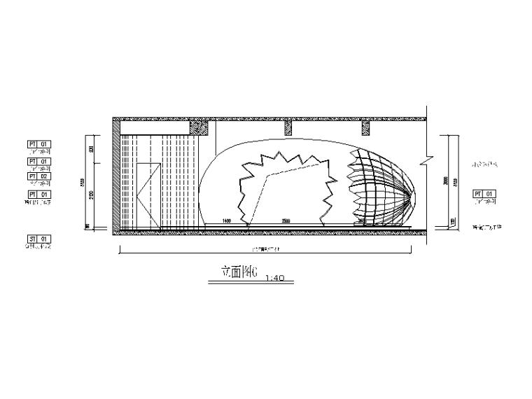 现代风格小巨蛋办公室设计CAD施工图(含实景图)_5