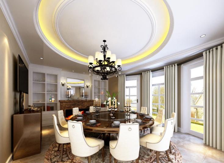 美式-复地爱伦坡别墅室内设计方案图(含效果图,施工图)-餐厅效果图