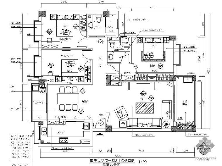 [毕业作品]现代三室二厅装修图
