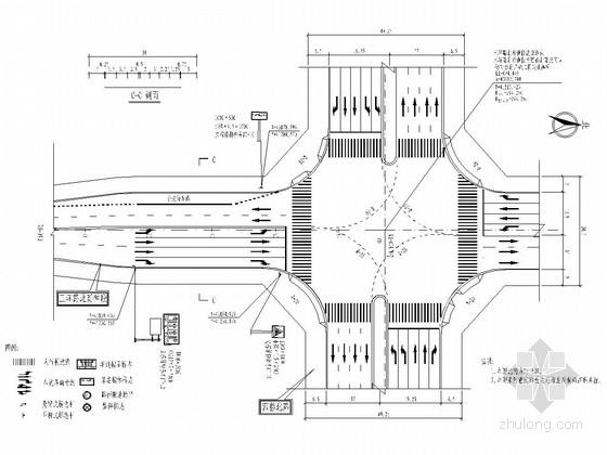 双向四车道城市次干路交通工程设计图(13张)