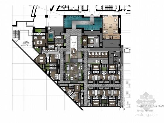 [北京]高端中式五星级四合院酒店SPA区室内设计方案
