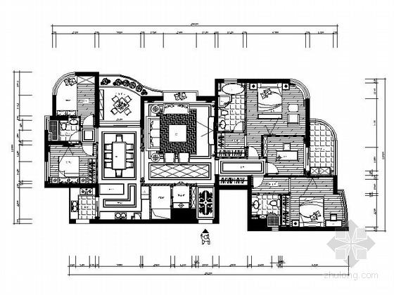 [温州]精品楼盘新古典风格四居室装修施工图(含效果图)