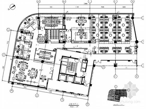 [杭州]独创房地产公司现代办公室精装修施工图(含效果)