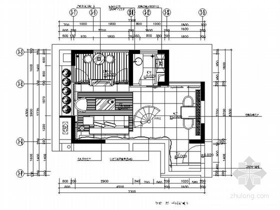 [广东]某现代风格复式样板房室内装修施工图(含效果)