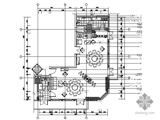 餐厅双圆桌包间平面图