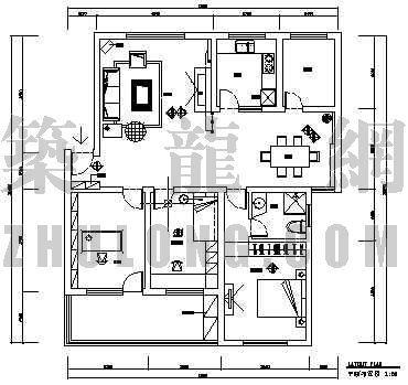 家装整套装修图纸(三室两厅两卫)