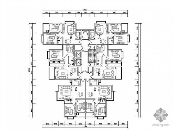 塔式高层一梯六户型图(89/96/95)
