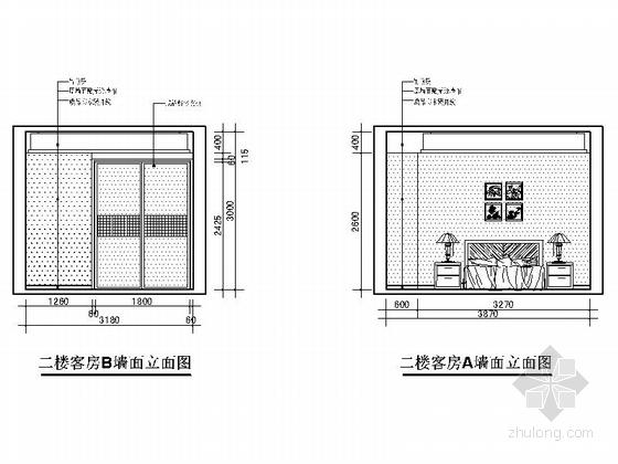 [上饶]商业中心区新中式四层别墅装修施工图客房立面图