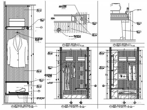 [海南]雅致海滨地带五星级度假酒店客房装修施工图(含全套酒店方案)大样图