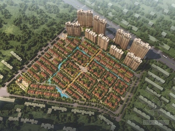 [武汉]现代风格住宅区规划及单体设计方案文本(含CAD)