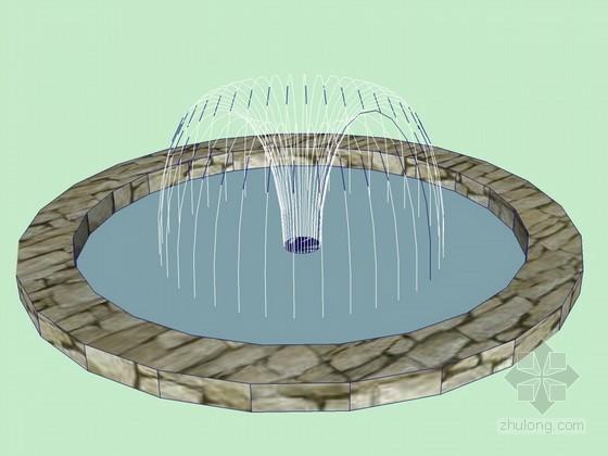 圆形喷泉SketchUp模型