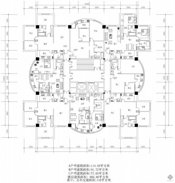 塔式高層一梯八戶戶型圖