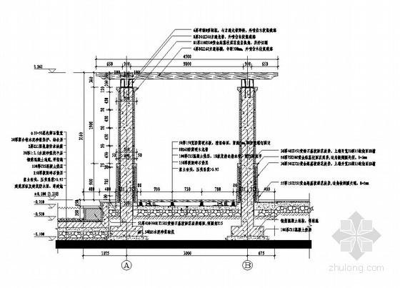 滨水防腐木廊架施工图