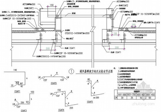 压型钢板屋面通风器处泛水收边板节点详图