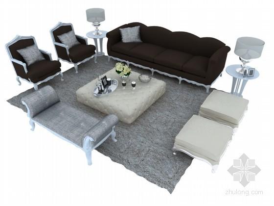 欧式简约沙发3D模型下载