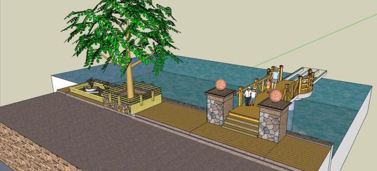 小庭院景观模型设计