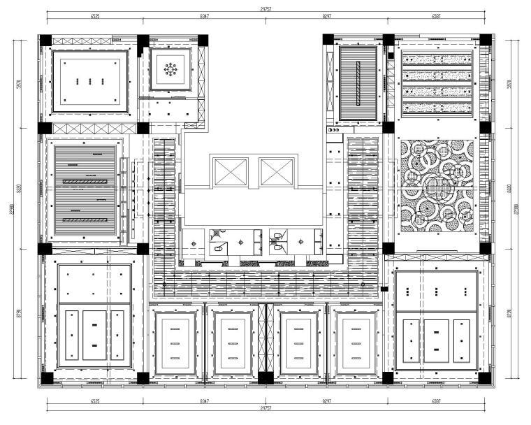[山东]混搭--黄海城市花园七层办公平面装修施工图+效果图-天花结构&梁关系详图