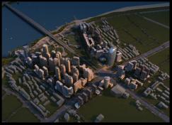 建筑规划效果图鸟瞰黄昏后期制作-设计连连看_13