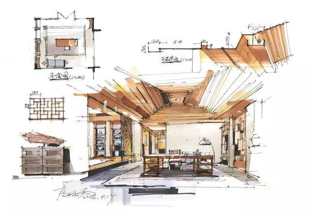 室内手绘|室内设计手绘马克笔上色快题分析图解_15