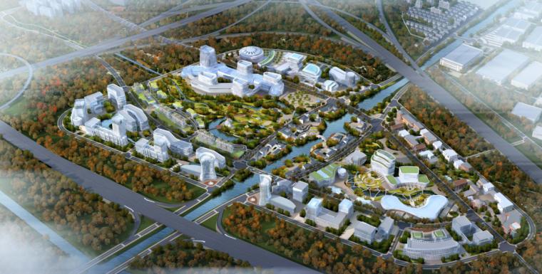 [浙江]杭州机器人旅游小镇规划设计(特色,休闲)A-2 核心区鸟瞰