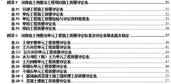 河南省土地平整项目检验与评定表格(最新版)