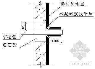 地下外墙穿墙管处卷材防水层作法示意图